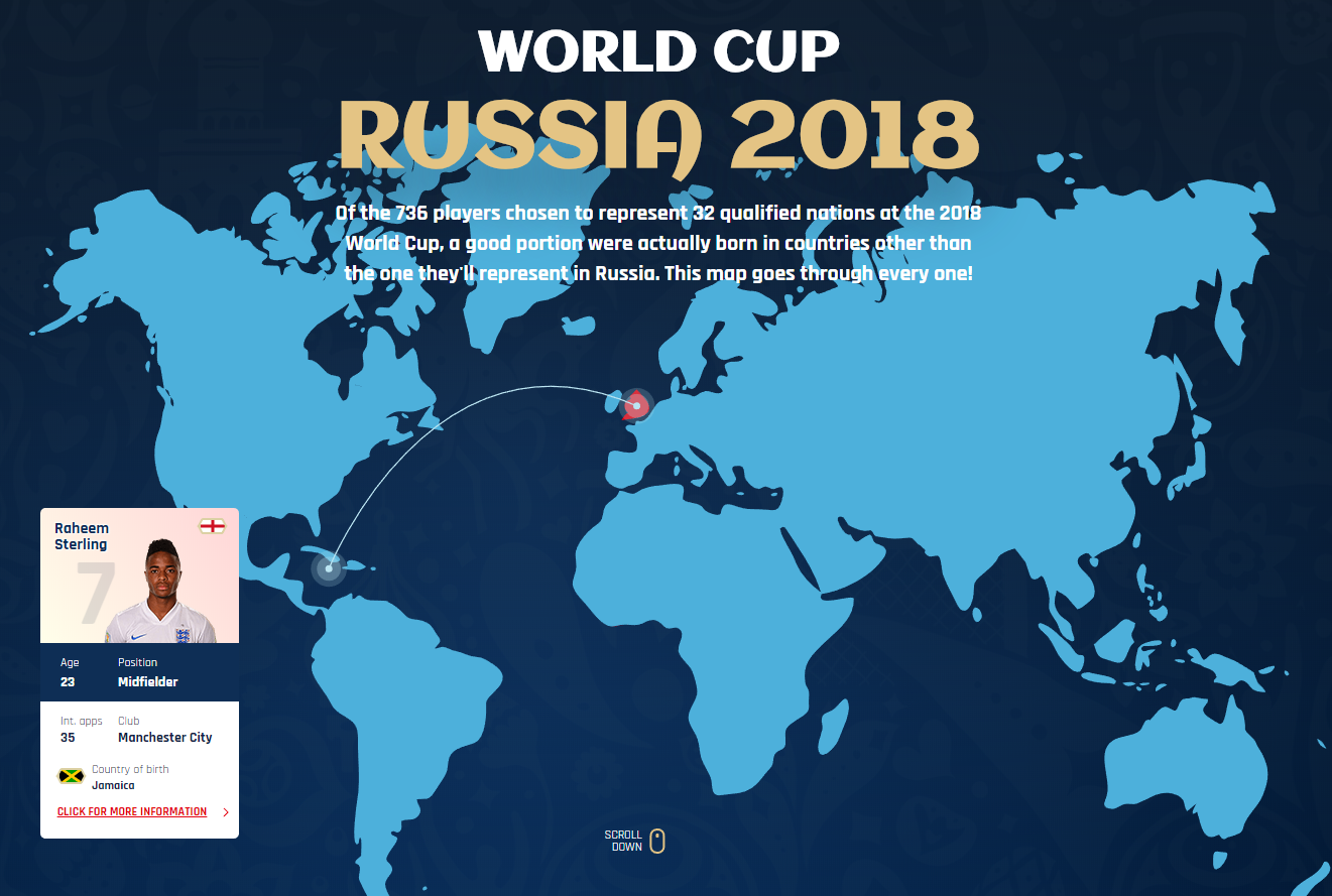 2018 Russia World Cup Map International Footballers Born Abroad