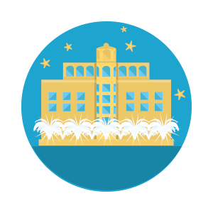 illustration of bellagio casino on blue circle background