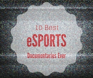 text about esports documentaries on static TV background