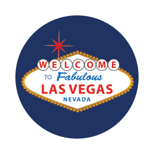 vegas sign on blue colored background