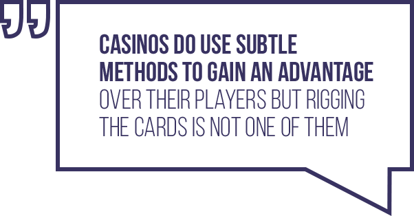 A quote regarding the belief that cards are rigged