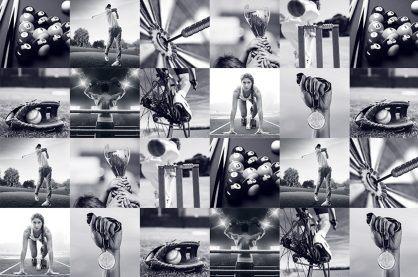 sporting memorabilia montage