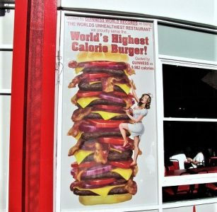 Image of world's highest calorie burger at Heart Attack Grill.