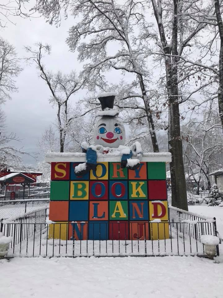 Storybook Land in the snow.
