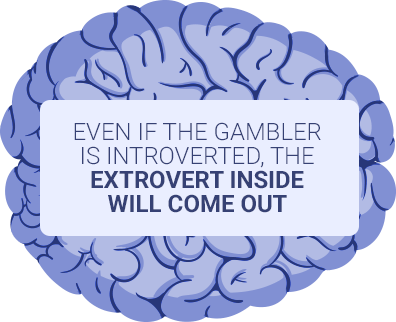 blue brain showing gamblers will become extroverted