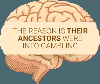 Yellow brain saying gambling addicts inherit issues from ancestors