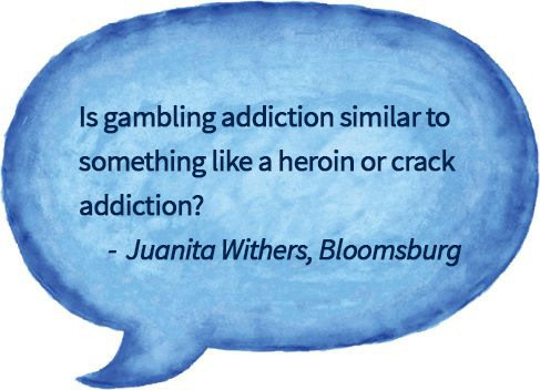 blue watercolor speech bubble with questions about comparison between drug and gambling addiction