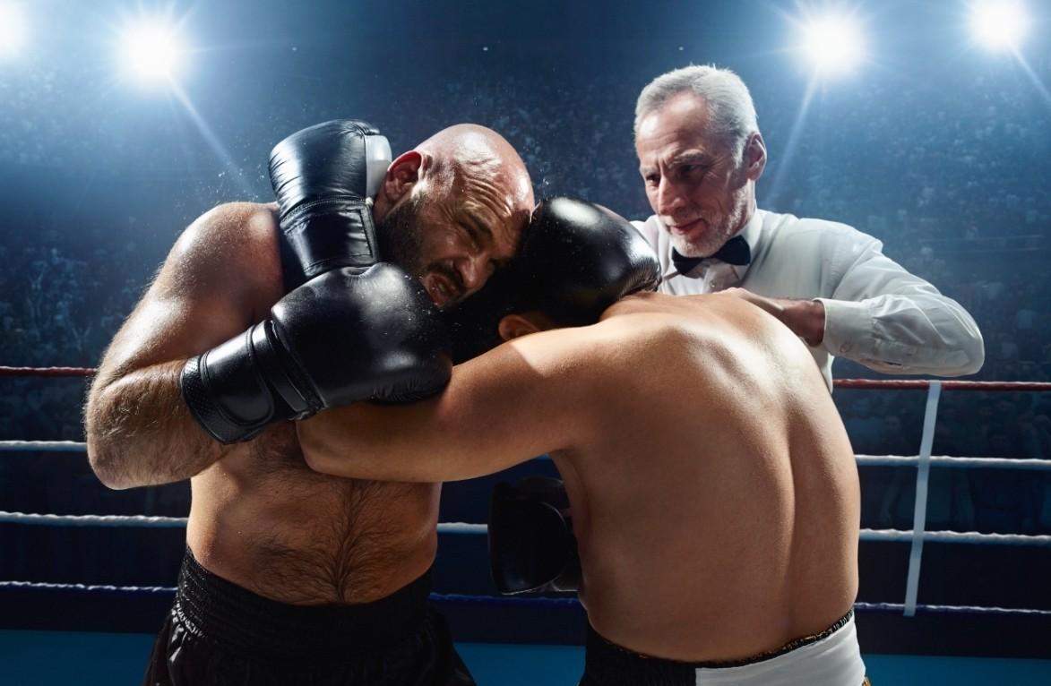 Boxing clinching.