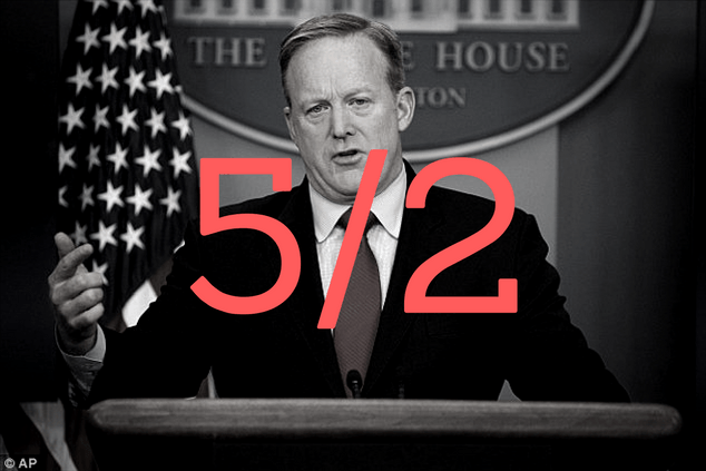 black and white photo of sean spicer with odds over it