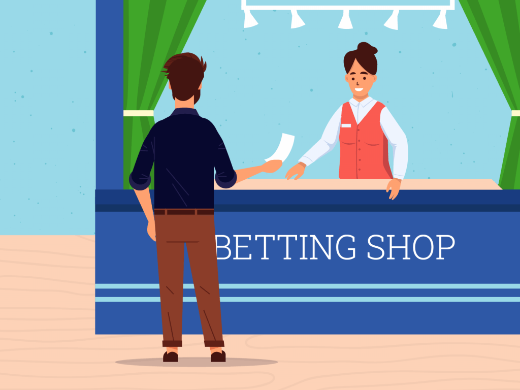 Person placing bets at betting shop