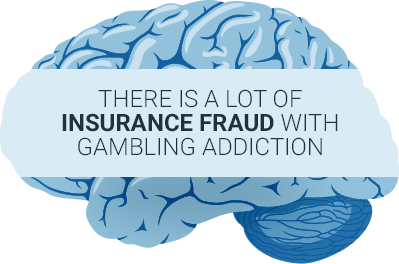 blue brain showing insurance fraud happens regularly in problem gamblers lives