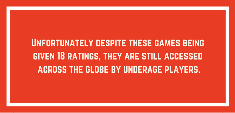 explanation of children playing 18 rated games on red background