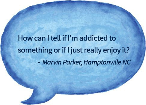 blue watercolour speech bubble with question about how to tell if your addicted to something