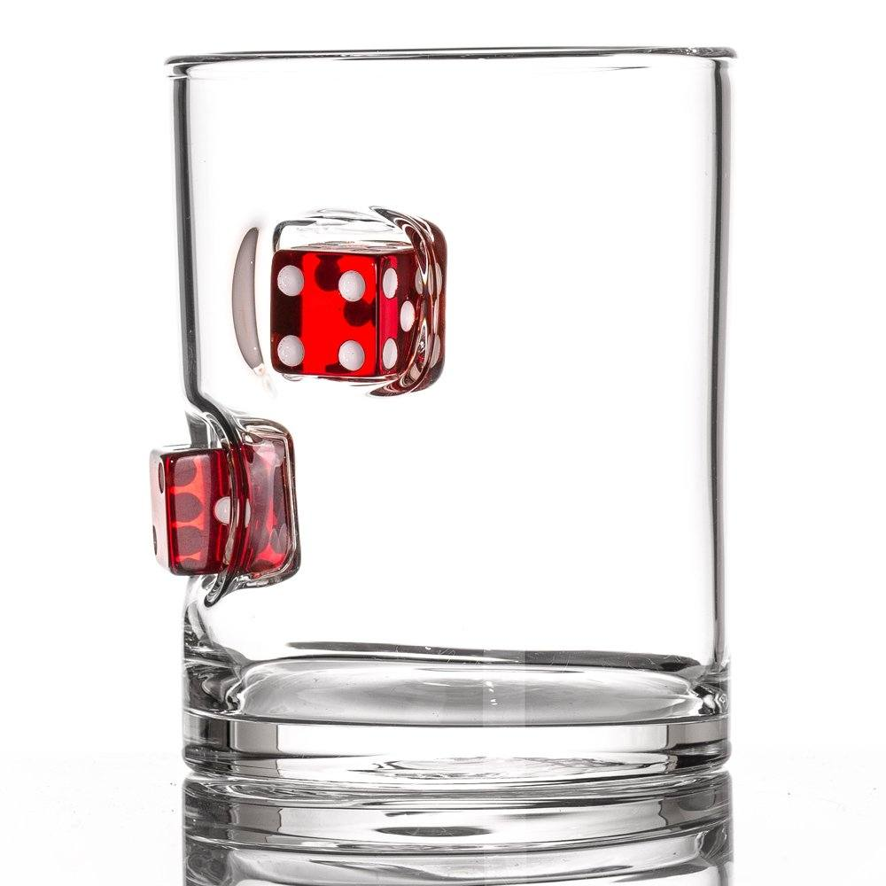 Dice whiskey tumbler.