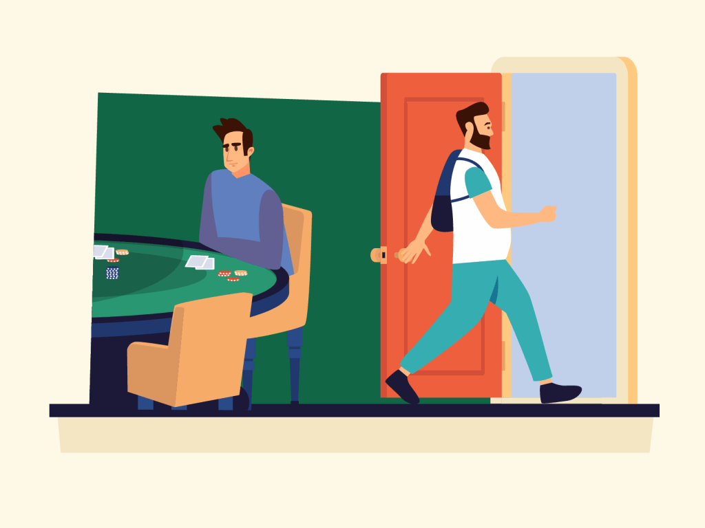 Person leaving poker game