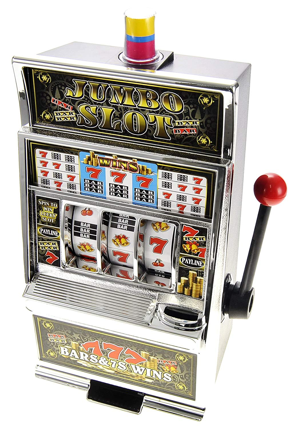 Slot machine piggy bank.