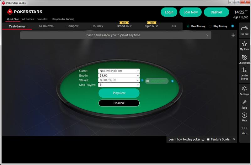 PokerStars' lobby