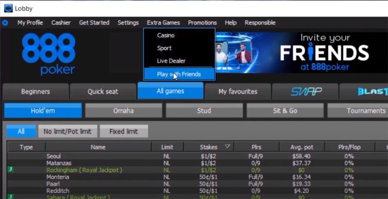 Screenshots of setting up a virtual poker game on 888poker.