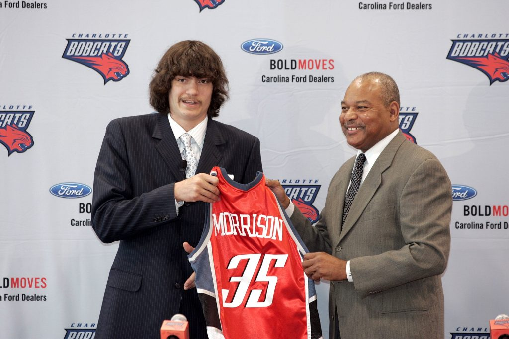 Adam Morrison being presented as a Charlotte Bobcats player