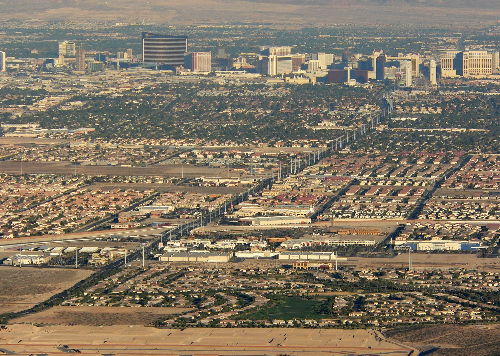 An aerial view of the Las Vegas suburbs