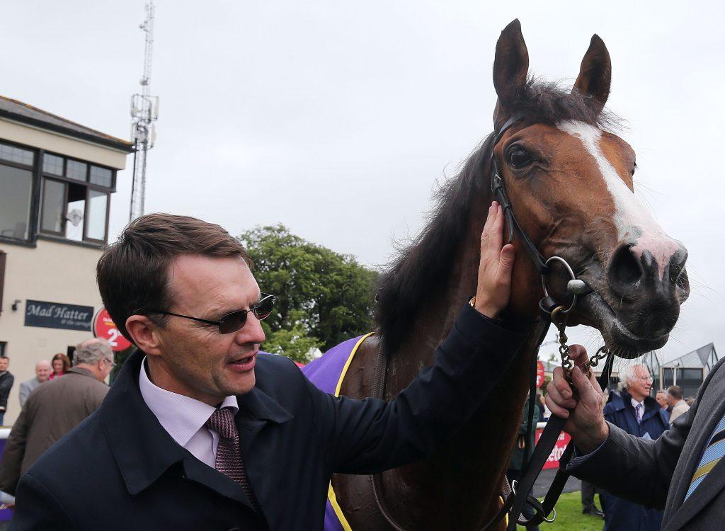 Aidan O'Brien praising one of his horses