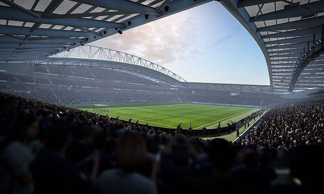An action shot of the Amex Stadium from FIFA 18