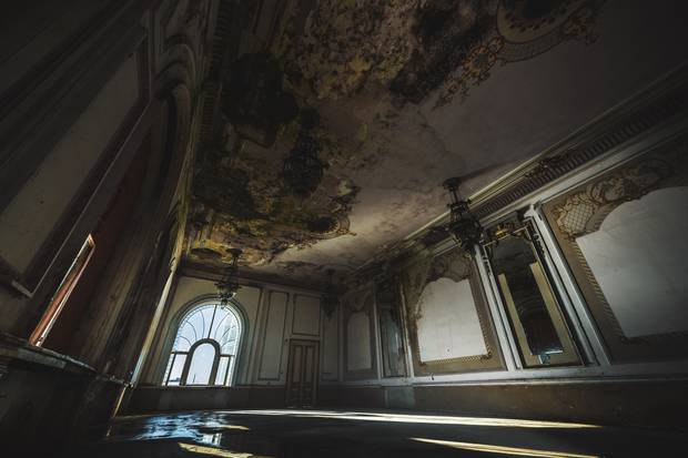 A room from inside the derelict casino that's still intact