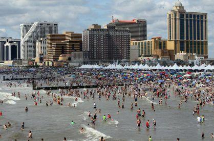 The Atlantic City strip behind the beach