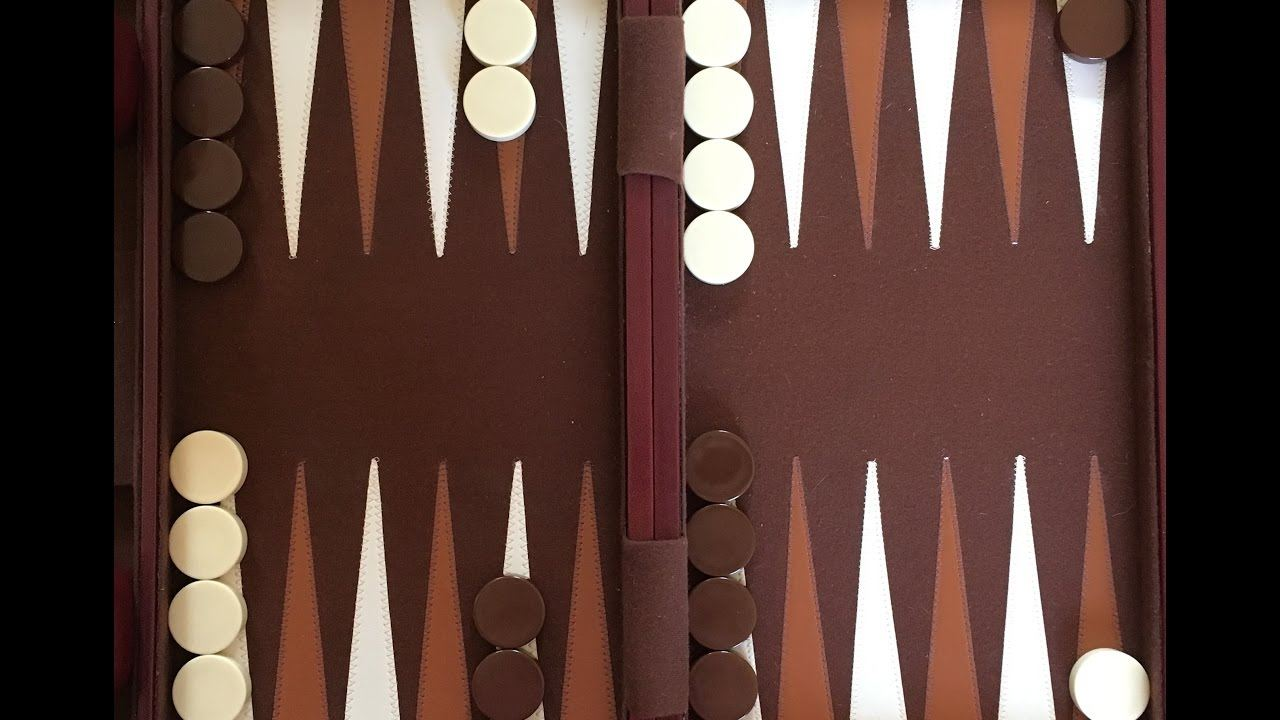 A standard backgammon board