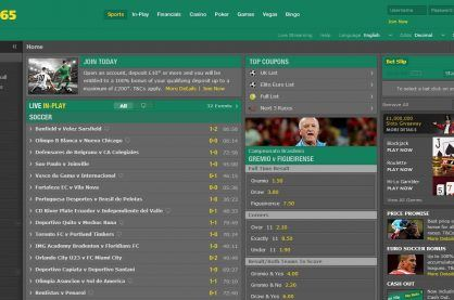 The homepage of the Bet365 website