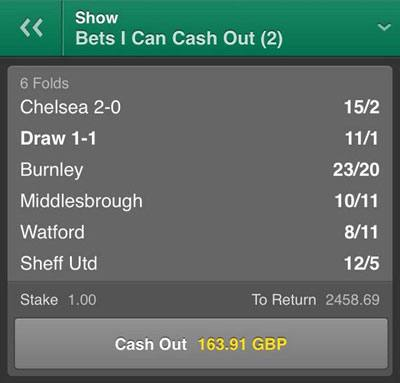Bet365 cash out option for punters