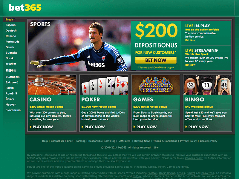 The Bet365 website homepage