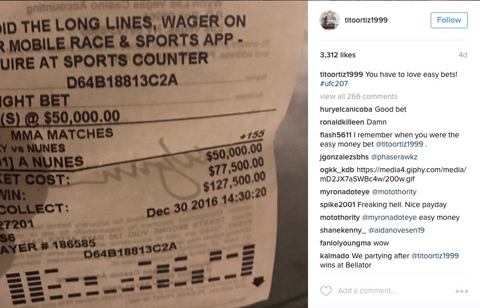 Tito Ortiz's betting slip from the Rousey fight