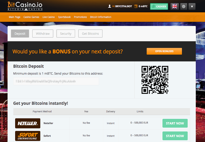 An image showing the Bitcoin deposit page at an online casino