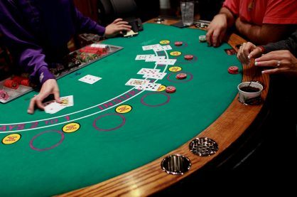 A live casino blackjack table
