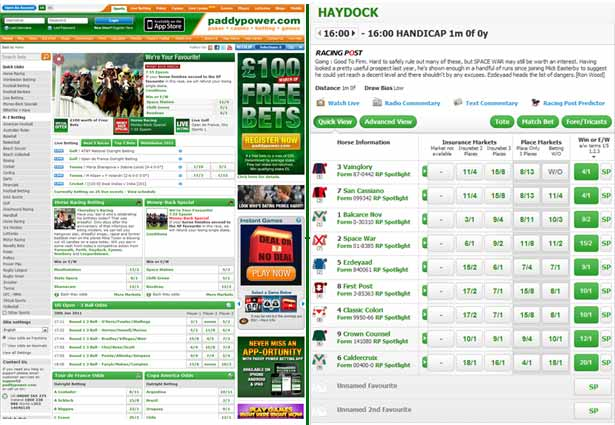 Paddy Power's betting page for horse racing