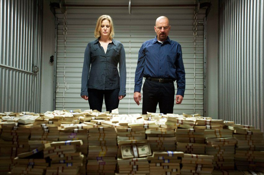 Characters from Breaking Bad with piles of money