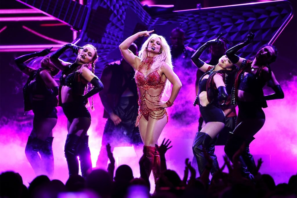 Britney Spears performing at her show in Las Vegas
