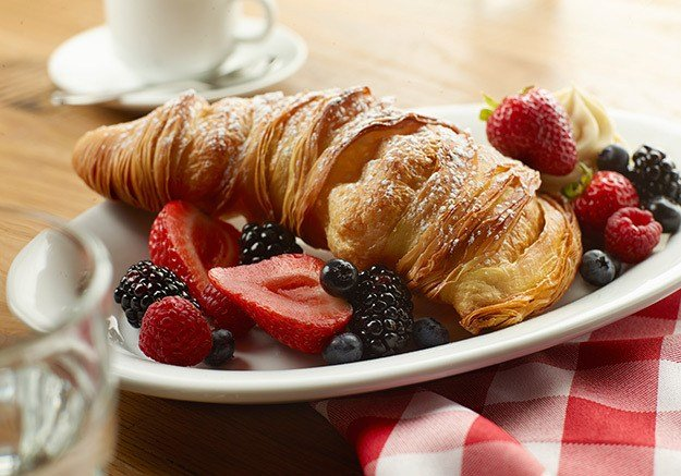 A croissant and fruit brunch option available at Buddy V's