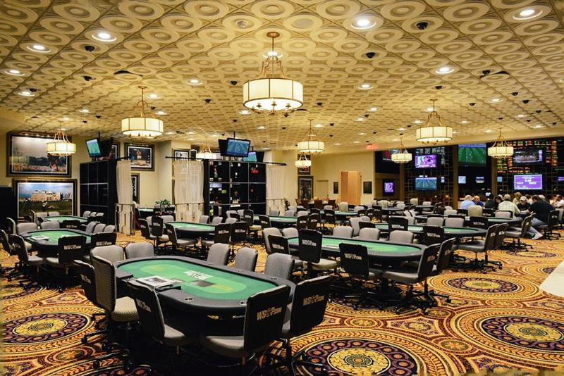 Inside the casino room at Caesars Palace