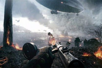 Game play from the video game, Call of Duty.