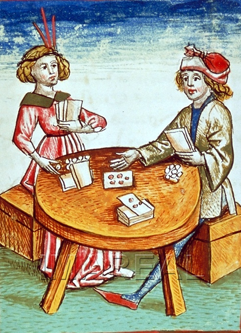 A painting of two individuals playing cards
