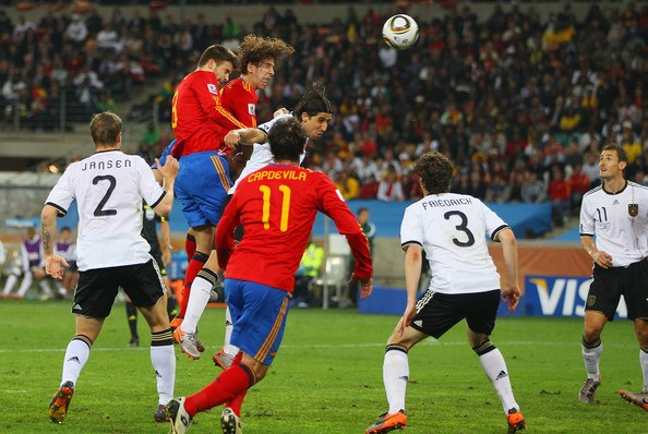 Carles Puyol scoring the winner in the semi-final of the 2010 World Cup