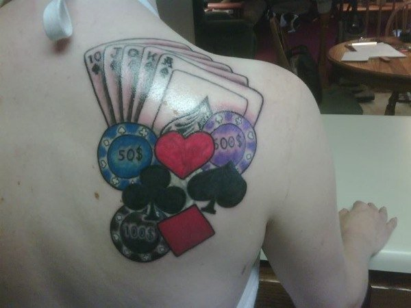 Casino chips and cards back tattoo