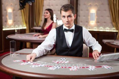 Live blackjack casino dealer