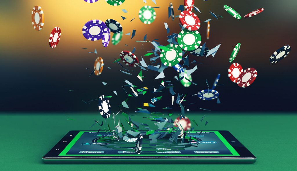 Poker chips bursting out of a mobile device