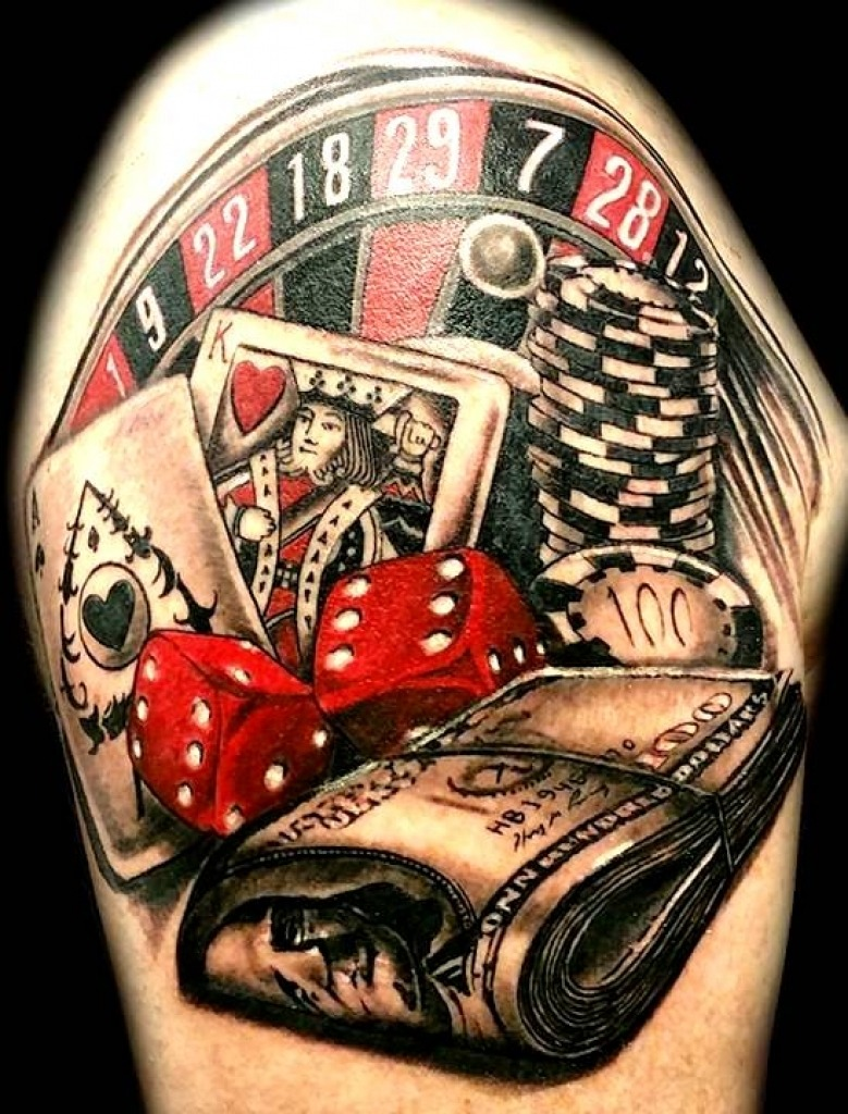 Casino related arm tattoo