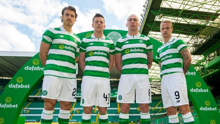 Players from Celtic promoting their new kit