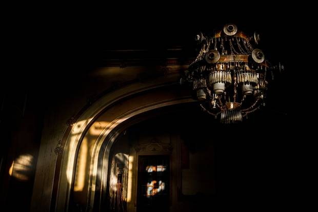 An old chandelier from inside this derelict casino