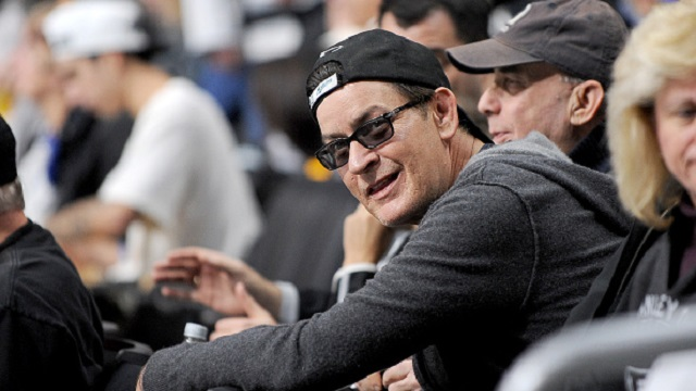 Charlie Sheen pictured at a basketball game in Hollywood